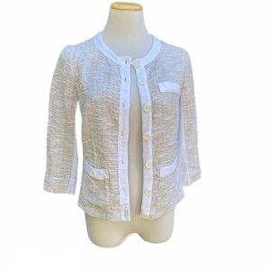 Three Dots Lightweight Boucle and Cotton Cardigan